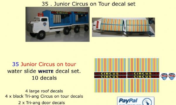 35 . Tri-ang Junior Circus on Tour decal set